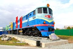 Monument of the soviet diesel locomotive TE3 Royalty Free Stock Photography
