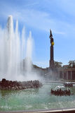 Monument of soviet solider and fountain, Schwarzenberg square, Vienna Stock Image