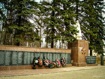 The monument since the Soviet Union died in world war 2 Russian soldiers in the town of Medyn, Kaluga region in Russia. In Russian cities, villages and Stock Photography