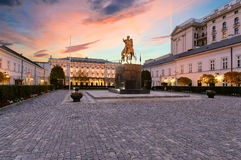 Monument on the square in the historic part of Warsaw. Stock Photo