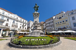 Monument on the square in the university town Coimbra. Royalty Free Stock Photos