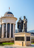 Monument of St. Cyril and Methodius in Skopje Stock Photo