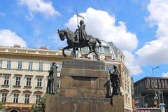 Monument St Wenceslas in Praag Stock Foto