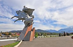 Monument in stadscentrum van Vladikavkaz Stock Foto