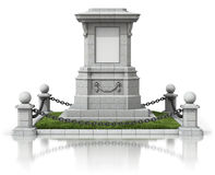 Monument stand with black chain fence. On white reflective background - 3D illustration Stock Photo
