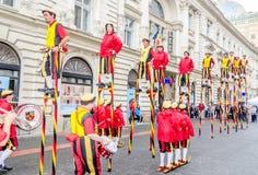 International Street Theatre Company - Steltlopers Merchtem Belgium, Stiltwalkers. Royalty Free Stock Image