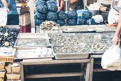 Fresh fish and seafood for sale in the fish market of Catania, Sicily, Italy.  royalty free stock images