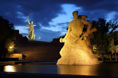 Monument Stay to Death at night in Volgograd. Monument Stay to Death in Mamaev Kurgan at night, Volgograd, Russia royalty free stock photography