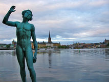 Monument and Stockholm's old town 2 Royalty Free Stock Photo