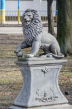 Monument of stone lion on a pedestal in Lviv Royalty Free Stock Photography
