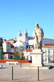 The monument on the street in Lisboa. Sunset on the street Lisboa, Portugal Stock Photo