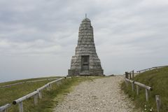 Monument the summit of Grand ballon in Vosges France. stock photo