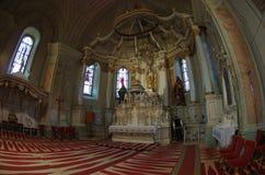 Monument Sumuleu church inside. Inside of old Monument Church in Sumuleu, Transylvania. Photo taken on: March 16. 2015 stock photo