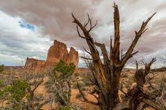 Monument-Tal, Arizona, Perspektivenlandschaft im Herbst Lizenzfreie Stockfotos