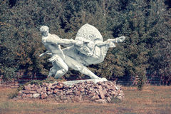 Monument `tamer of a bull` in Chernobyl. Stock Images