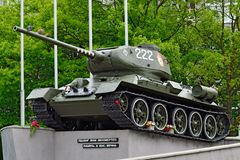 Monument Tank T-34-85. Kaliningrad (before Koenigsberg), Russia Stock Images