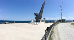 Monument of TCG Dumlupinar submarine poop deck. She sank after a tragic accident off the coast Royalty Free Stock Photos