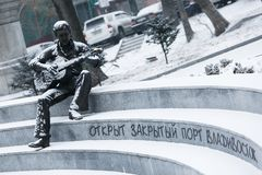 A monument therefore to the musician Vladimir Vysotsky in Vladivostok stock image