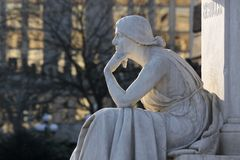 Monument Thinking woman Royalty Free Stock Image