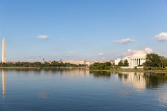 The monument and Thomas Jeffersen Memorial. The Thomas Jefferson Memorial and the Monument Stock Photo