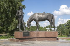 Monument is thr writer Batushkov.  Stock Photos