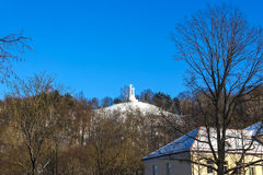 Monument of Three Crosses on the Bleak Hill at dawn time in Vilnius, Lithuania. Royalty Free Stock Photo
