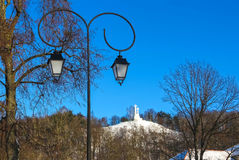 Monument of Three Crosses on the Bleak Hill at dawn time in Vilnius, Lithuania. Royalty Free Stock Image