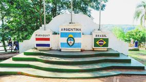 Monument of the three frontiers of Brazil, Argentina and Paragua. Puerto Iguazu, Argentina - January 07, 2018: Monument of the three frontiers of Brazil Royalty Free Stock Photo