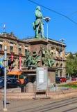 Monument till Alfred Escher i Zurich, Schweiz Arkivbild