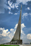 Monument till besegrare av utrymme på VDNKh, Moskva Arkivfoton