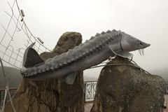 monument till boken av den Victor Astafiev Konung-fisken royaltyfri bild