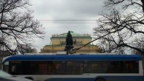 Monument till Catherine 2 i St Petersburg lager videofilmer