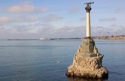 Monument till de döda skeppen i Sevastopol royaltyfria bilder