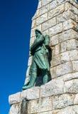 Monument till de Diables bleusna överst av det storslagna Ballonberget i Alsace, Frankrike fotografering för bildbyråer