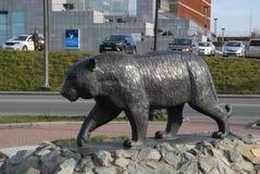 Monument till den Amur tigern vladivostok Arkivbilder