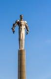 Monument till den första astronautet Gagarin i Moskva Arkivfoto