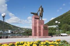 Monument till den första militära regulatorn av Kamchatka V S Zavoiko Ryssland Kamchatka, Petropavlovsk-Kamchatsky Arkivfoton
