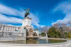 Monument till den Philip droppen i Madrid, Spanien royaltyfri bild