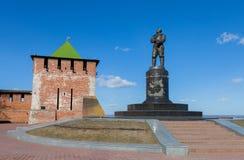 Monument till den sovjetiska polara flygaren Chkalov Arkivbilder