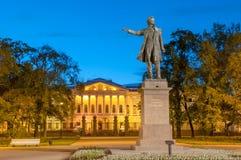 Monument till den stora ryska poeten Alexander Pushkin på Ploshcha royaltyfri bild