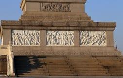 Monument till folkets hjältar på den Tiananmen fyrkanten, Peking Arkivfoto