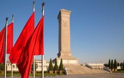Monument till folkets hjältar på den Tiananmen fyrkanten, Peking, Kina Fotografering för Bildbyråer