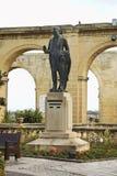 Monument till Gerald Strickland i Valletta malta fotografering för bildbyråer