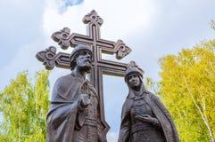 Monument till helgon Peter och Fevronia - beskyddarna av förbindelsen och familj, Veliky Novgorod, Ryssland Royaltyfri Fotografi