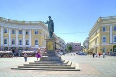 Monument till Hertig de Richelieu i Odessa 1828 år Arkivfoton