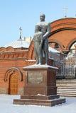 Monument till kejsaren Nicholas II och Tsesarevich Alexei vinter fr Fotografering för Bildbyråer