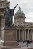 Monument till Kutuzov på den Kazan domkyrkan royaltyfria foton