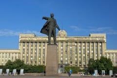 Monument till Lenin på Moskvafyrkanten, St Petersburg Arkivbild