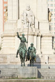 Monument till Miguel de Cervantes Saavedra Arkivbild