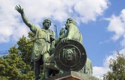 Monument till Minin och Pozharsky på röd fyrkant i Moskva, Ryssland Arkivfoto